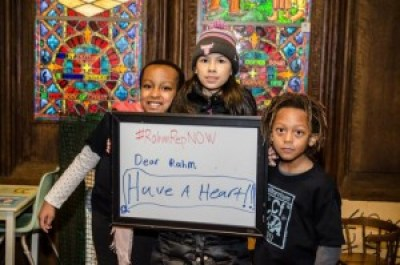 "Children at the Chicago Temple call on Chicago Mayor Rahm Emanuel to ""have a heart"" for the survivors of torture committed by his police department. – Photo: Sarah Jane Rhee"
