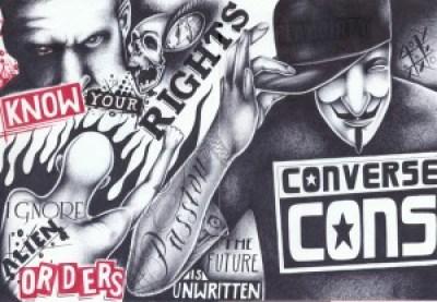 """Know Your Rights"" – Art: Chriss Garcia, J-93559, PBSP SHU C1-112, P.O. Box 7500, Crescent City CA 99531"