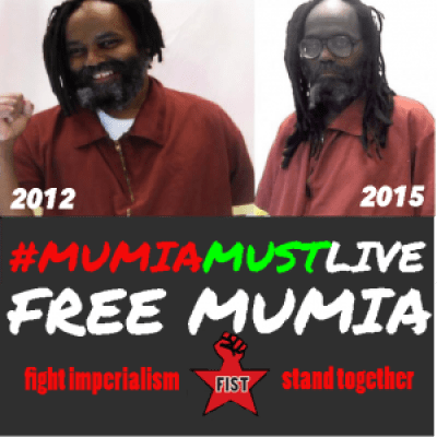 "This poster, showing how Mumia's appearance has changed drastically from 2012 to 2015, is being used by FIST to organize rallies for his 61st birthday in Philadelphia on April 24, 4 p.m., at 15th and Market; in Boston on April 26, 2 p.m., at the screening of ""Mumia: Innocent and Framed"" at 284 Amory St., Jamaica Plain; and in Rockford, Illinois, April 24, 1-2 p.m., at the Rockford Downtown Jail."