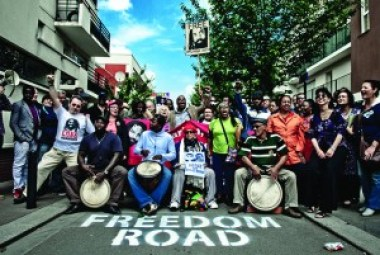 Mumia activists celebrate the fifth anniversary of the naming of a street for Mumia, Rue Mumia Abu Jamal, in Saint Denis, a suburb of Paris.