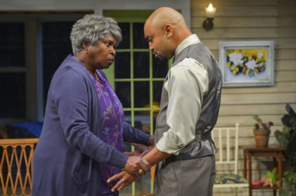"""Cheryl Lynn Bruce (Shelah) and Francois Battiste (Aubrey) perform in Tarell Alvin McCraney's """"Head of Passes,"""" a poignant and poetic new play about the journey of family and faith, trial and tribulation at Berkeley Rep. – Photo courtesy of kevinberne.com"""