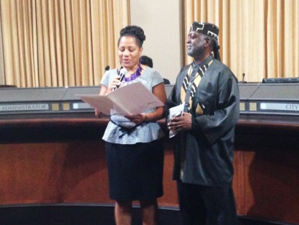 Baba Jahahara is honored March 3 by Oakland City Council President Lynette Gibson McElhaney.
