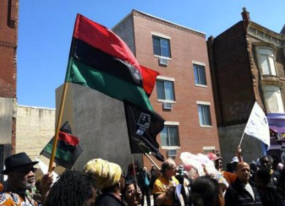 Philadelphia Student Union members attend a march and rally to celebrate Mumia's 60th birthday and call for the freeing of all political prisoners.