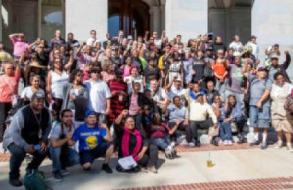 On Quest for Democracy Day at the capitol in Sacramento, April 27, 2015, 250 people split up into 30 teams to visit legislators' offices to advocate for legislation relevant to formerly incarcerated people and their communities.