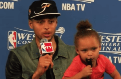 Riley Curry wants you to know she's rooting for daddy. The May 27 game that cinched the Finals was the 2-year-old's second scene-stealing press conference appearance. – Photo: KNBR video
