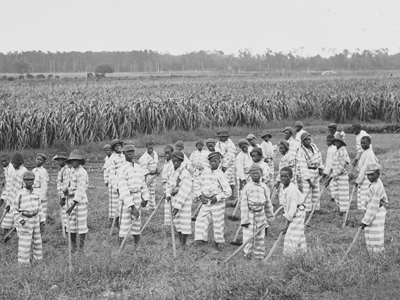 After the Civil War, to maintain slavery, Black people, including children like these, were convicted of bogus crimes and forced to work for free. Just like today. Isn't it time to end slavery?
