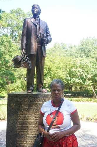 Erica Alcox was one of the community members who gathered for a quiet meeting June 18 near the Denmark Vesey statue in Hampton Park. – Photo: Paul Bowers