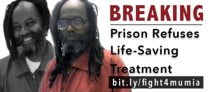UPDATE: Mumia Abu-Jamal has active Hepatitis C, Prison Radio announced today, Aug. 4, a diagnosis derived from recent testing. But the prison has reportedly known since 2012 that Mumia is Hep C positive, and now it refuses to treat him. As Mumia's lawyers submit an amended complaint to address this new issue, Ann Garrison is putting them in touch with Peter Erlinder so as to advocate that he be given the new cure.