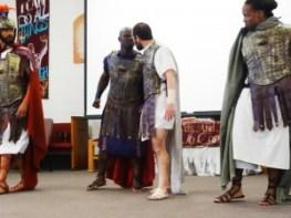 "In San Quetin's ""Julius Caesar,"" LeMar ""Maverick"" Harrison appears as Marc Antony, John Windham as Octavius, Maurice ""Reese"" Reed as Cassius and Carlos Flores as Brutus. – Photo: Wanda Sabir"