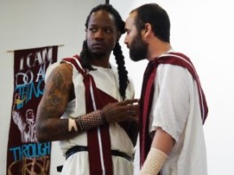 """Maurice 'Reese' Reed as Cassius and Carlos Flores as Brutus confer in this scene from San Quentin's """"Julius Caesar."""" – Photo: Wanda Sabir"""