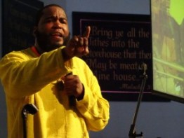 "Dr. Umar Johnson spoke about special education and IEPs and called medication to control Black boys an ""incarceration plan. Learning disabilities is an opinion,"" he stated. ADHD is ""Ain't No Daddy at Home Syndrome."" He is currently raising money to build a school for Black children, and this month, July 14-22, he is taking Black boys on a Black college and manhood tour (http://www.drumarjohnson.com/). He said that if any parent wants to send their boy, he will work with the family financially. The tour is $800. He said to text or call him: 215-989-9858. – Photo: Wanda Sabir"