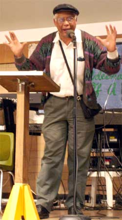 Dr. Tolbert Small speaks against health care denial and government repression on Lil Bobby Hutton Day, April 16, 2005.