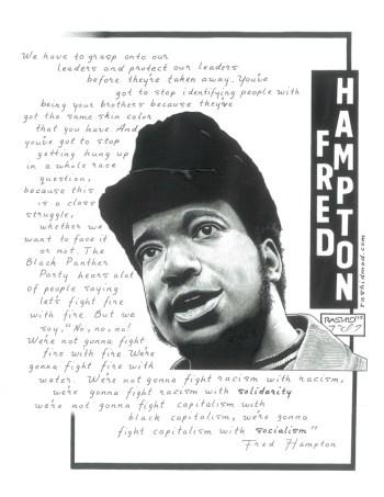 """Fred Hampton"" – Art: Kevin ""Rashid"" Johnson, 1859887, Clements Unit, 9601 Spur 591, Amarillo TX 79107"