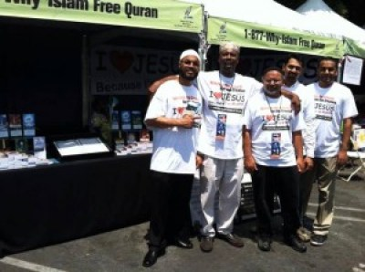 The crew at the Why Islam booth wear I heart Jesus T-shirts at the 2013 Leimert Park Village Book Fair.