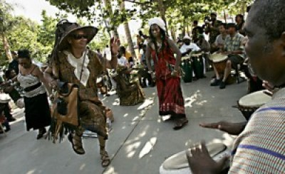 The beat of the drums and the joy that always infuses the Leimert Book Fair got folks dancing at the 2009 fair.