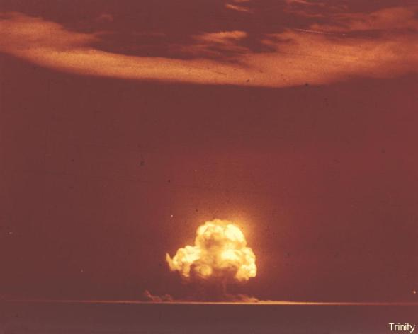 "This is Trinity, detonated in the New Mexico desert on July 16, 1945, birthing the Atomic Age. The blast created a flash of light brighter than a dozen suns that was seen over the entire state of New Mexico and in parts of Arizona, Texas and Mexico. The mushroom cloud rose to over 38,000 feet, and the heat of the explosion was 10,000 times hotter than the surface of the sun. Every living thing within a mile of Ground Zero was obliterated. Trinity's ""brothers,"" Little Boy and Fat Man, were dropped on Hiroshima and Nagasaki on Aug. 6 and 9, killing at least 225,000 people."
