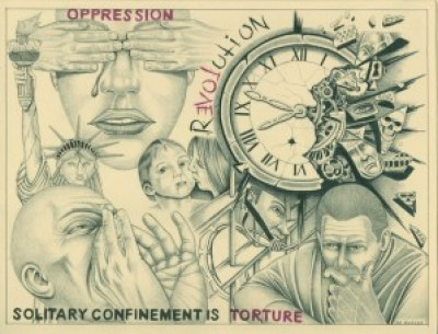 """We're Still Here"" is the artist's title for this drawing that depicts the ""slow death"" of solitary confinement. On the left is the prisoner thinking of the family and supporters who give him the strength to survive and resist, noting that ""love"" is the center of ""revolution,"" and on the right he depicts some of the horrors of prison. The artist is in his 15th year of solitary confinement. – Art: Michael D. Russell, C-90473, PBSP SHU D7-217, P.O. Box 7500, Crescent City CA 95532"