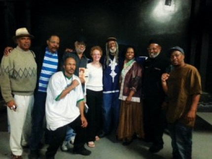 """A stop on Cynthia McKinney's speaking tour brought together these veterans of the struggle at the Kaos Network in Los Angeles on April 23, 2013. Dedon Kamathi is at the left, Roland Freeman, Kathleen Cleaver, Ronald """"Elder"""" Freeman and Cynthia are in the middle and The People's Minister of Information JR Valrey, who organized the tour for the Block Report and the Bay View, is at the right. – Photo: JR Valrey, Block Report"""