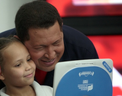 As he did with all civic affairs in Venezuela, Hugo Chavez played a personal role in the distribution of small laptops to all the elementary and high school students in the country.