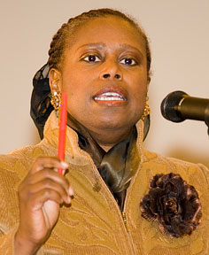 Cynthia McKinney campaigns for president in 2008, when she was the Green Party's nominee.