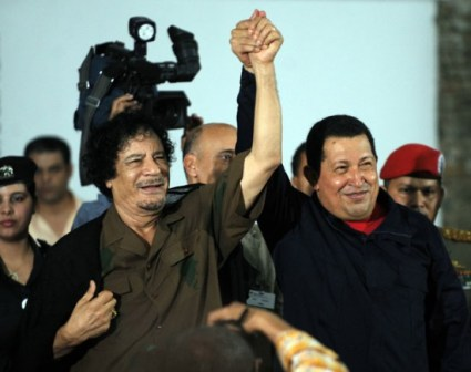 Venezuelan President Hugo Chavez declares his nation's support for Muammar Qaddafi and an independent Libya on Feb. 25, 2011, and implacable opposition to a Western invasion.