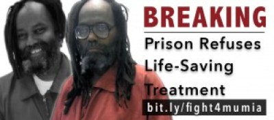 World renowned political prisoner Mumia Abu Jamal is suffering intensely with hepatitis C, the photos showing him before and since his diagnosis became known. Pennsylvania prisons are refusing him and others with the disease the life-saving but expensive drugs that have a 95 percent cure rate. His lawyers have sued the state for medical neglect and support the class action suit for access to the drugs by all infected Pennsylvania prisoners.