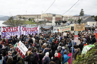 On Feb. 20, 2012, thousands made their way to San Quentin to the Occupy 4 Prisoners rally at the main gate. Maybe it's time to do it again. – Photo: James Cacciatore, Marin Independent Journal
