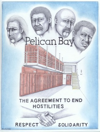 It's hard to illustrate the Agreement to End Hostilities in a drawing, but prolific artist Michael D. Russell shows here how a group of Black, Brown and White prisoners called for the end of racial hostilities to remove the prison administrators' most potent weapon against them, divide and conquer. For the moment, Michael remains in solitary confinement in Pelican Bay. – Art: Michael D. Russell, C-90473, Pelican Bay State Prison SHU D7-217, P.O. Box 7500, Crescent City CA 95532