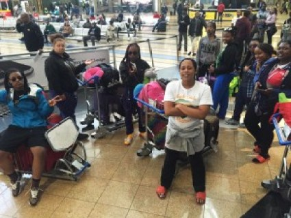 Our girls hanging out in O.R. Tambo International Airport in Johannesburg, South Africa, after traveling over 24 hours to get there. All we want are showers and beds!
