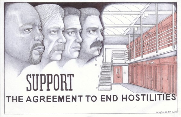 "The artist writes this dedication: ""Agreement to End Hostilities: With great honor and respect to all Short Corridor Collective representatives, near and far, for having the wisdom and keen foresight to change the course for the greater good – and to all those dedicated like-minded individuals who are in the struggle to end oppression and solitary confinement – in solidarity."" – Art: Michael D. Russell, C-90473, PBSP SHU D7-217, P.O. Box 7500, Crescent City CA 95532"