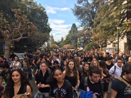 "Berkeley High students march from their school to the UC Berkeley campus on Nov. 5, changing ""No justice, no peace!"" – Photo: Lucy Rosenthal"