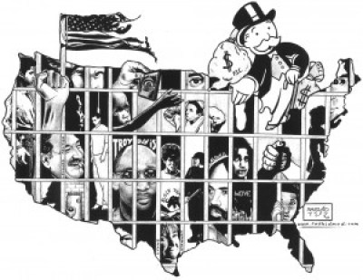"In this drawing for the National Occupy Day in Support of Prisoners on Feb. 20, 2012, renowned artist and writer Kevin Rashid Johnson illustrates the influence of Wall Street and big money on mass incarceration. – Art: Kevin ""Rashid"" Johnson, 1859887, Clements Unit, 9601 Spur 591, Amarillo TX 79107"