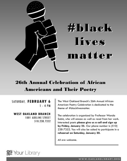 26th annual Celebration of African Americans and Their Poetry flier