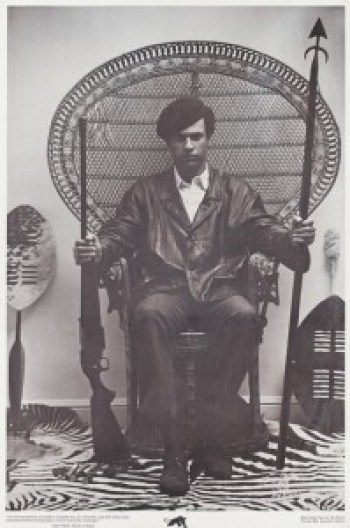 """At the bottom of this iconic photo is written: """"'The racist dog policemen must withdraw immediately from our communities, cease their wanton murder and brutality and torture of Black people, or face the wrath of the armed people.' – Huey P. Newton, Minister of Defence, Black Panther Party for Self Defence, P.O. Box 8641, Emeryville, California"""""""