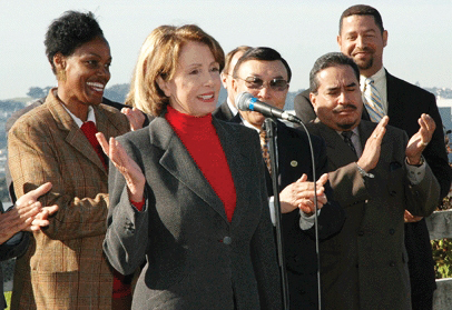 In January of 2005, Congresswoman Nancy Pelosi, beaming with pride, announced the dirty transfer of Parcel A of the Hunters Point Naval Shipyard from the Navy to the City and County of San Francisco. In 2000, San Francisco voted over 86 percent for Proposition P to make thorough cleanup of the Shipyard prior to any development the policy of the city. Behind Pelosi is then Supervisor Sophie Maxwell.