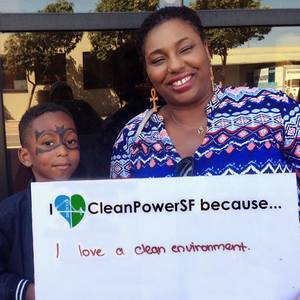 'I love CleanPowerSF' Black mom & son