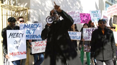 """Archbishop King of St. John Coltrane Church implores Mercy California to not stand in the way of tenants: """"If you're going to call yourself Mercy, then there should be some favor and grace for the people who are on the right path. We are just asking you to do the right thing."""""""
