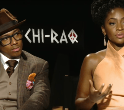 A televised interview with Nick Cannn and Teyonah Parris