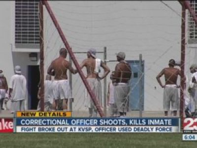 This report of violence at Kern Valley, showing prisoners in the yard, was broadcast April 22, 2015. – Video frame: ABC 23