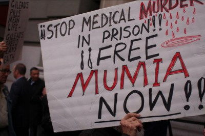 Big Pharma protest 'Stop medical murder, Free Mumia' JP Morgan conf St. Francis Hotel 011216 by Anka Karewicz