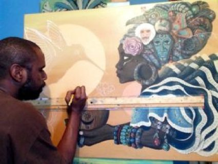 Painter Paul Lewin at work