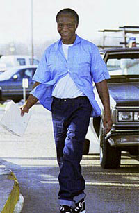 As a brilliant jailhouse lawyer, Robert King became the first of the Angola 3 to be released when he won his own case. Here, he walks out of Angola, the 18,000 acre former plantation, on Feb. 8, 2001, after 31 years in prison, 29 of them in solitary confinement.