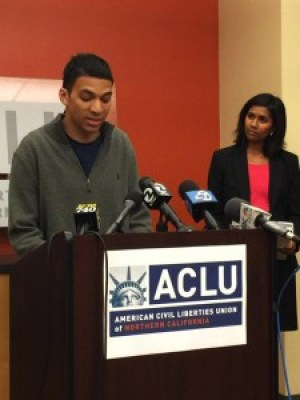 "Travis Hall, a 23-year-old college student who was brutally beaten by Officer Joshua Cabillo and two other SFPD officers ""just because I'm Black"" on April 10, 2015, speaks to the press on Sept. 9, 2015, when the ACLU filed a lawsuit on his behalf. – Photo: Doug Sovern, Twitter"