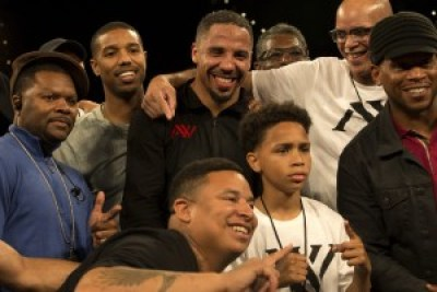 "Andre Ward celebrates his victory with family and friends – back row: James Prince, Ward's manager; Michael B. Jordan, star of ""Creed"" and ""Fruitvale Station""; Don Da Da, one of Andre's cut men, who's been with him since Andrew was 10; and Virgil Hunter, Andre's coach and godfather; front row: Diante Thompson, childhood friend of Andre Ward; young amateur boxer David Lopez; and Seattle Seahawks running back Marshawn Lynch. – Photo: Malaika H Kambon"