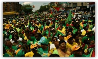 Guyanese pour into the streets of New York City to celebrate Guyana's 50 years of independence, 1966-2016. They are the fifth largest foreign-born population in New York State.