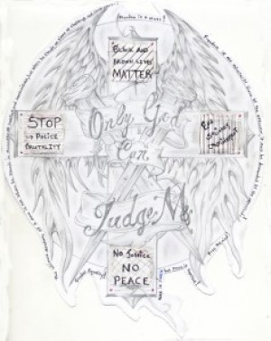"""""""Only God Can Judge Me"""": The artist, Troy Hendrix, writes: """"I have been unjustly and unnecessarily confined in solitary confinement for the last 10 years. Even though I am stronger than most, this extreme isolation has stolen a big part of me. I do all I can to not let it steal all of me. My mind has taken a beating from this isolation, but it remains unshackled. They can trap my body but can never lock my mind. Your newspaper is one of the few things that keep me motivated. So continue to publish the things many media outlets attempt to keep hidden."""" – Art: Troy Hendrix, 06A2056, Elmira CRC, P.O. Box 500, Elmira NY 14902"""