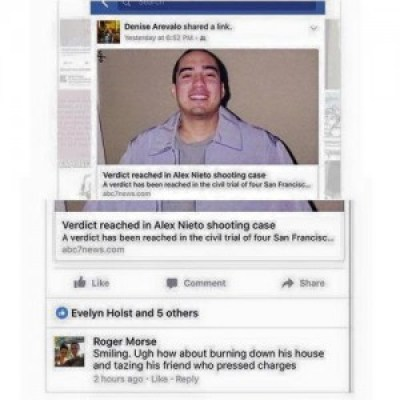 """Alex Nieto's friend, Benjamin Bac Sierra, writes: """"On Facebook, immediately following the verdict, SFPD Officer Roger Morse threatened the Nieto family and Alex Nieto's friend, presumably me. … I, Benjamin Bac Sierra, hold a B.A. from U.C. Berkeley, a teaching credential certificate and Master's from San Francisco State, and a Juris Doctor degree from U.C. Hastings College of the Law. I am a college English instructor …, and we must trust the police officer writer knows how to write in English. I have heard no other explanation from the source himself. FIRE OFFICER MORSE!"""""""