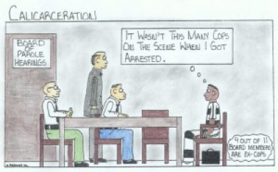 """Cops on Parole Board"" – Art: Marcus Bedford Jr., K-00220, DVI J-325L, P.O. Box 600, Tracy CA 95378"