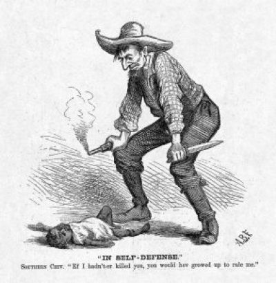 "This editorial cartoon by A.B. Frost ran in the Oct. 28, 1876, edition of Harper's Weekly on page 880. Harp Week explains: ""The white man has killed a black child, and his plea of 'self-defense' exemplifies the perspective among Southern whites that Reconstruction had led to 'black rule.'"" The cartoon appeared days before that year's bitterly disputed presidential election, on Nov. 7, 1876. Not much has changed in 140 years."