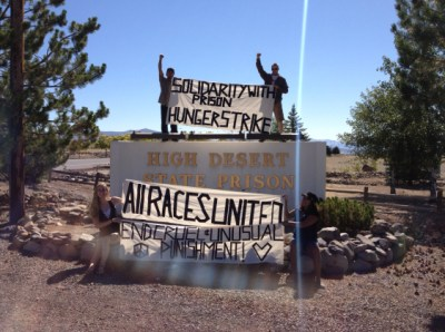 A rally at High Desert State Prison on July 14, 2013, a week after the 2013 hunger strike began, when thousands throughout the state were still participating, encourages those starving themselves inside. The 2013 strike had been preceded by two in 2011, the first drawing 6,600 participants and the second 12,000. Changes since the California strikes are happening in prisons and legislatures around the country.